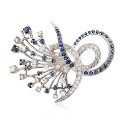 C. 1980 Vintage 1.20 ct. t.w. Sapphire and 1.75 ct. t.w. Diamond Floral Spray Pin in 14kt White Gold, , default
