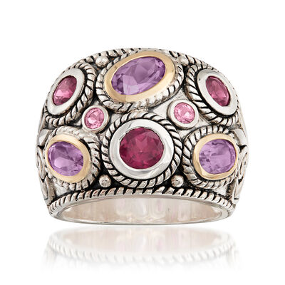 2.50 ct. t.w. Multi-Gem Bali-Style Dome Ring in 14kt Yellow Gold and Sterling Silver