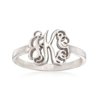Sterling Silver Script Monogram Ring, , default