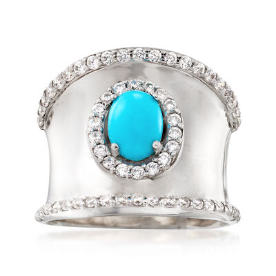 Stabilized Turquoise and 1.30 ct. t.w. White Zircon Ring in Sterling Silver, , default
