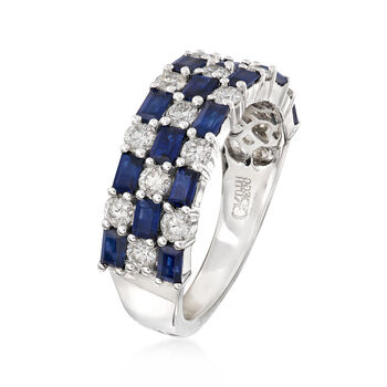 Gregg Ruth 1.75 ct. t.w. Baguette Sapphires and .86 ct. t.w. Diamond Checkerboard Ring in 18kt White Gold