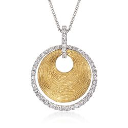 Simon G. .44 ct. t.w. Disc and Diamond Pendant Necklace in 18kt Two-Tone Gold, , default