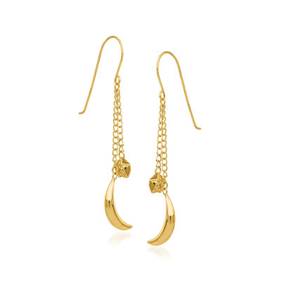 14kt Yellow Gold Moon and Stars Drop Earrings