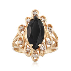 C. 1980 Vintage Marquise Black Onyx and .35 ct. t.w. Diamond Ring in 10kt Yellow Gold. Size 6.5, , default