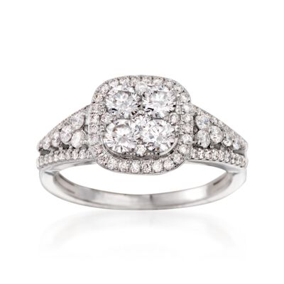 1.15 ct. t.w. Diamond Cluster Ring in 14kt White Gold, , default