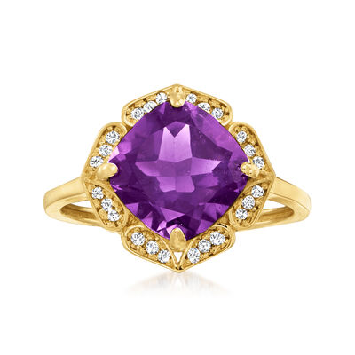 3.10 Carat Amethyst and .12 ct. t.w. Diamond Halo Ring in 14kt Yellow Gold