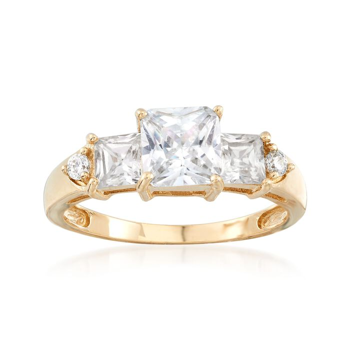 2.00 ct. t.w. Princess-Cut and Round CZ Ring in 14kt Yellow Gold, , default
