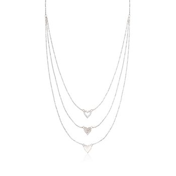 """.25 ct. t.w. CZ Layered Heart Necklace in Sterling Silver. 16"""", , default"""