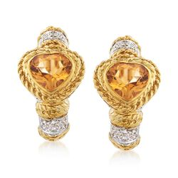 C. 1990 Vintage 2.80 ct. t.w. Heart-Shaped Citrine and .70 ct. t.w. Diamond Earrings in 18kt Yellow Gold, , default
