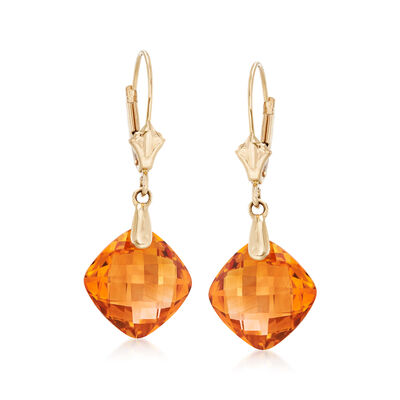7.60 ct. t.w. Citrine Drop Earrings in 14kt Yellow Gold, , default