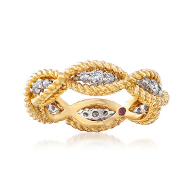"Roberto Coin ""Barocco"" .46 ct. t.w. Diamond Roped Ring in 18kt Two-Tone Gold, , default"