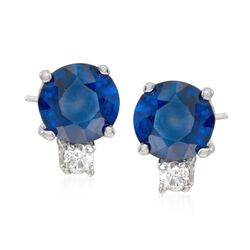 1.20 ct. t.w. Sapphire Stud Earrings With Diamond Accents in 14kt White Gold, , default