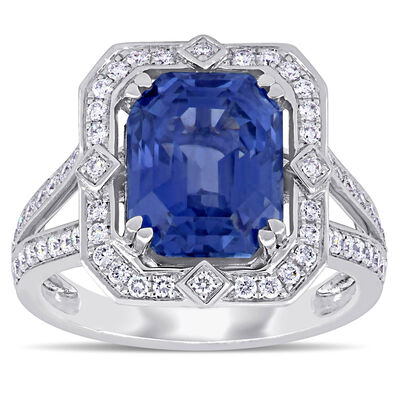 6.48 Carat Sapphire and .47 ct. t.w. Diamond Cocktail Ring in 14kt White Gold, , default