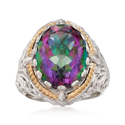 8.75 Carat Mystic Quartz Ring in Sterling Silver and 14kt Gold, , default