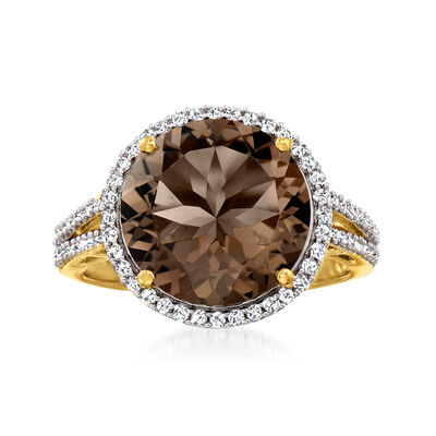 5.25 Carat Smoky Quartz and .50 ct. t.w. White Zircon Ring in 18kt Gold Over Sterling