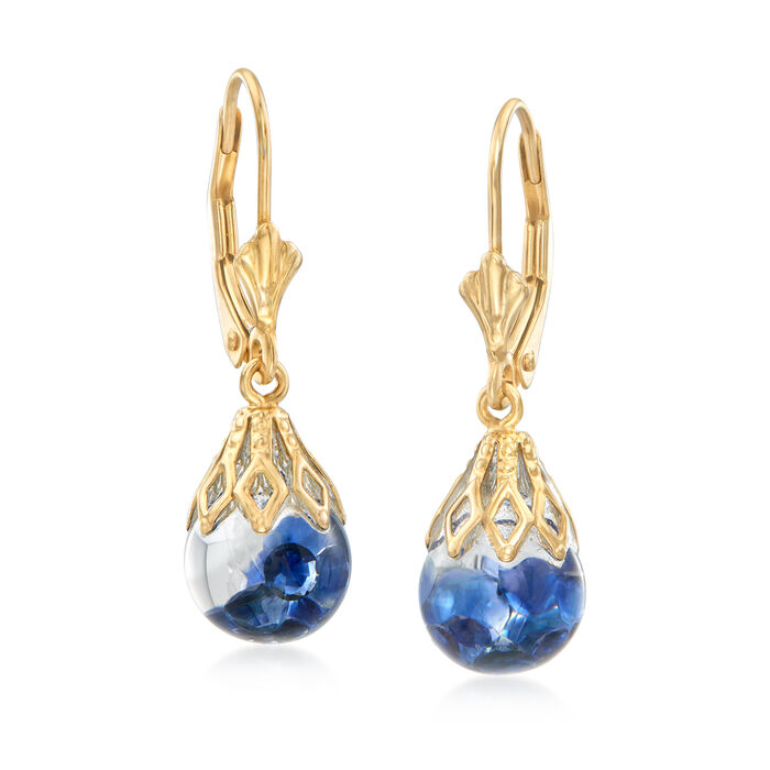 .70 ct. t.w. Floating Sapphire Drop Earrings in 14kt Yellow Gold, , default