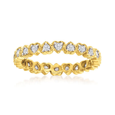 .50 ct. t.w. Diamond Heart Eternity Band in 18kt Gold Over Sterling