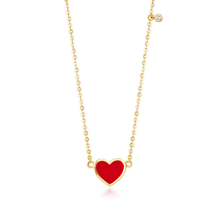 Child's Enamel Heart Necklace in 14kt Yellow Gold with CZ Accent. 14""