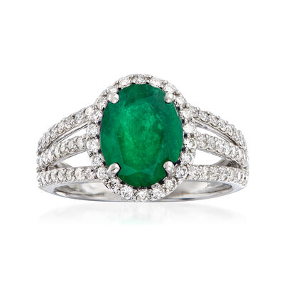 3.00 Carat Emerald and .81 ct. t.w. Diamond Triple-Shank Ring in 18kt White Gold, , default