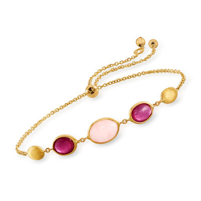 Italian Pink Opal and 1.60 ct. t.w. Ruby Bolo Bracelet in 14kt Yellow Gold