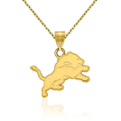 14kt Yellow Gold NFL Detroit Lions Small Pendant Necklace. 18""