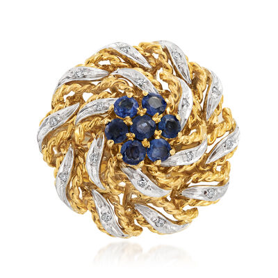 C. 1960 Vintage 1.00 ct. t.w. Sapphire and .10 ct. t.w. Diamond Flower Ring in 18kt Yellow Gold, , default