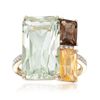 10.35 ct. t.w. Multi-Stone Mosaic Ring With Diamond Accents in 14kt Yellow Gold, , default