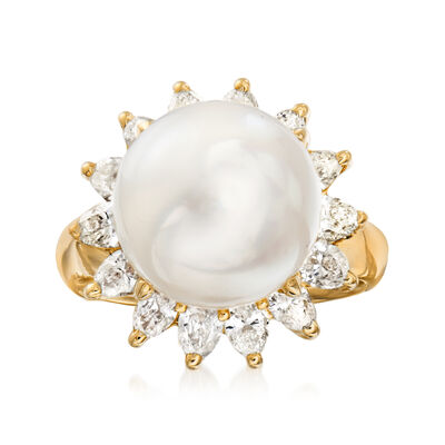 C. 1980 Vintage 11.9mm Cultured South Sea Pearl and 1.32 ct. t.w. Diamond Ring in 18kt Yellow Gold
