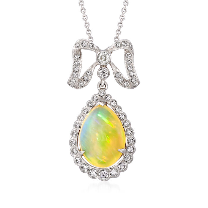 C. 2000 Vintage Opal and .65 ct. t.w. Diamond Bow Necklace in 18kt White Gold