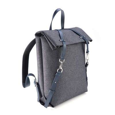 Royce Blue Leather and Heather Gray Flannel Media Backpack, , default