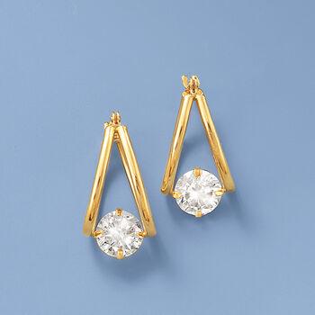 """1.60 ct. t.w. CZ Double U-Shaped Hoop Earrings in 14kt Yellow Gold. 5/8"""". , , default"""