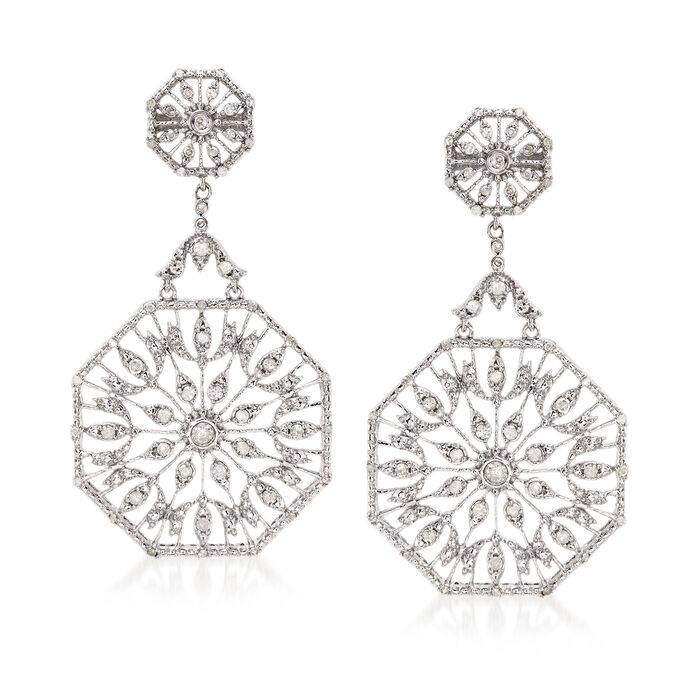.50 ct. t.w. Diamond Octagon Drop Earrings in Sterling Silver, , default