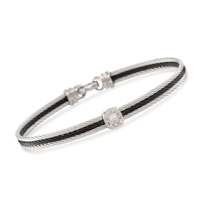 """ALOR """"Noir"""" Two-Tone Stainless Steel Cable Bracelet with Diamonds and 18kt White Gold. 7"""", , default"""