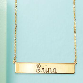 Italian 18kt Yellow Gold Name Bar Necklace, , default