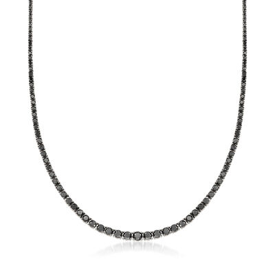 7.00 ct. t.w. Black Diamond Graduated Necklace in Sterling Silver, , default
