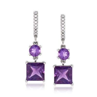 3.20 ct. t.w. Amethyst Hoop Drop Earrings with White Zircon Accents in Sterling Silver