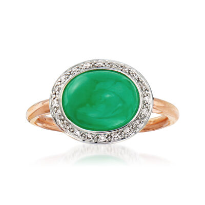C. 1990 Vintage Mimi Milano Green Jade and .15 ct. t.w. Diamond Ring in 18kt Two-Tone Gold