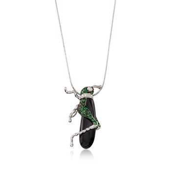 Black Onyx and .40 ct. t.w. Tsavorite Grasshopper Pin Pendant with Diamonds in 18kt White Gold, , default