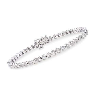 3.00 ct. t.w. Bezel-Set Diamond Tennis Bracelet in 14kt White Gold, , default