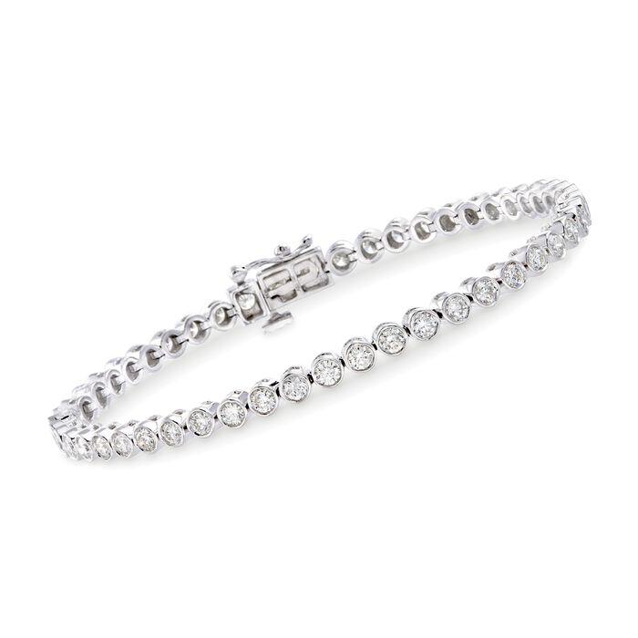 "3.00 ct. t.w. Bezel-Set Diamond Tennis Bracelet in 14kt White Gold. 7"""