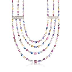 "C. 1990 Vintage 200.00 ct. t.w. Multicolored Sapphire Multi-Strand Necklace With 6.00 ct. t.w. Diamonds in 18kt White Gold. 16"", , default"