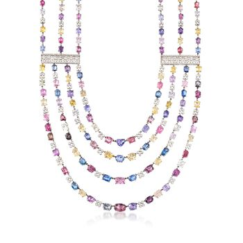 """C. 1990 Vintage 200.00 ct. t.w. Multicolored Sapphire Multi-Strand Necklace With 6.00 ct. t.w. Diamonds in 18kt White Gold. 16"""", , default"""