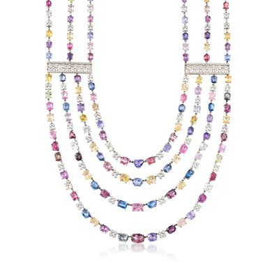 C. 1990 Vintage 200.00 ct. t.w. Multicolored Sapphire Multi-Strand Necklace with 6.00 ct. t.w. Diamonds in 18kt White Gold, , default