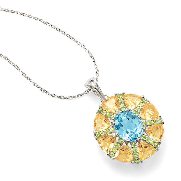 9.00 ct. t.w. Multi-Stone Starburst Pendant Necklace in Sterling Silver