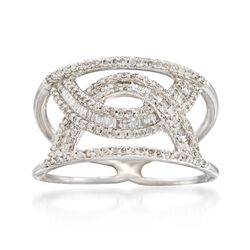 .55 ct. t.w. Diamond Interlocking Arches Ring in 14kt White Gold. Size 6, , default