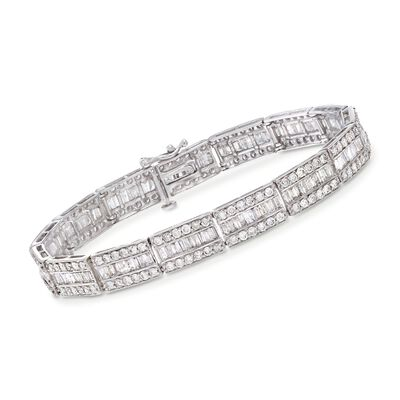 6.00 ct. t.w. Baguette and Round Diamond Bracelet in 14kt White Gold, , default