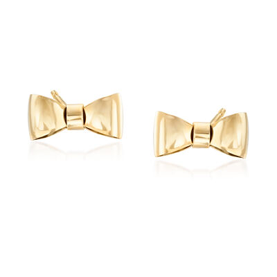 Italian 14kt Yellow Gold Bow Stud Earrings
