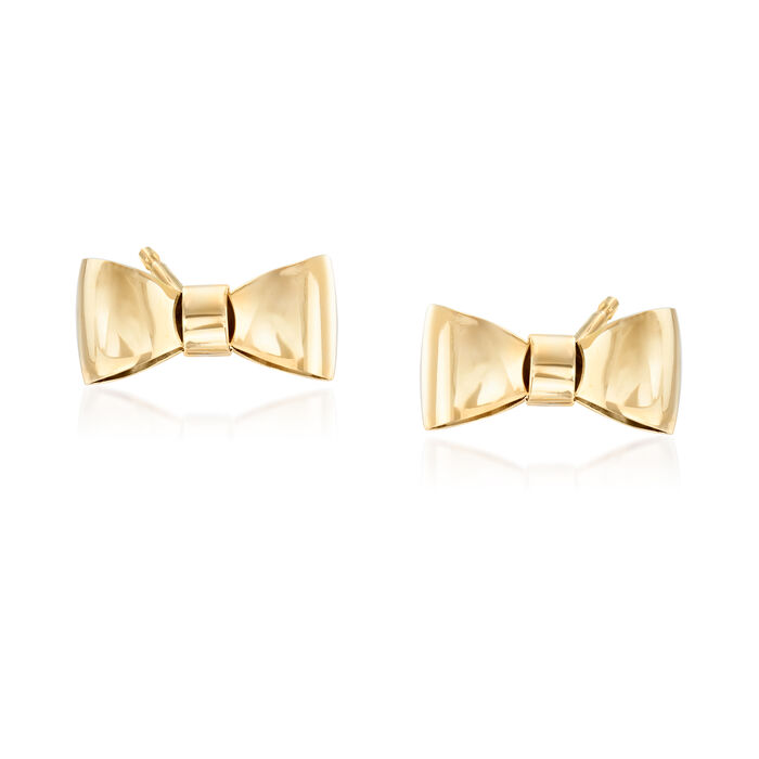 Italian 14kt Yellow Gold Bow Stud Earrings, , default
