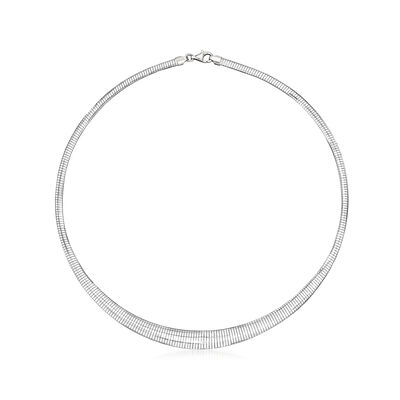 Italian Sterling Silver Omega Graduated Necklace, , default