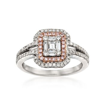 Gregg Ruth .70 ct. t.w. White Diamond and .11 ct. t.w. Pink Diamond Ring in 18kt Two-Tone Gold, , default